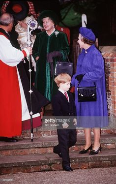 Prince Harry Attends The Christening Of His Cousin, Princess Eugenie, Along With The Queen Mother And Queen Elizabeth At Sandringham, Norfolk.
