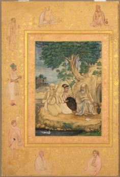 Attributed to Govardhan: Prince and Ascetics (Leaf from the late Shah Jahan Album, Cleveland Museum of Art)