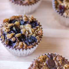To-Go Baked Oatmeal Muffins with Your Favorite Toppings - 2 eggs,1/4 C oil, 1 C brown sugar, 1/2 C applesauce, 1 1/2 C milk, 2 tsp vanilla, 1/2 tsp salt, 1 Tbsp cinnamon, 3 C oats, 2 tsp baking powder plus your favorite toppings