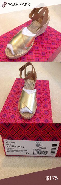 Tory burch wedge Brand new with box. Bima metallic wedge Tory Burch Shoes Wedges