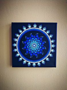 My blue sun, dot mandala painting i love these colors! #dotmandala #mandala #painting #knika90