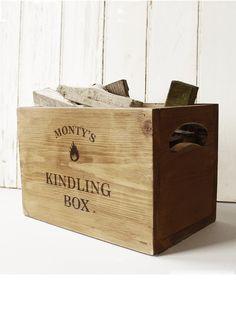 Personalised Vintage Kindling Box - #vintage #storage