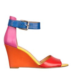 """Color block 3 1/4"""" wedge sandal with adjustable ankle closure.  Leather upper."""
