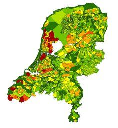 De emissieregistratie verzamelt informatie over de emissies van circa 350 voor het milieubeleid relevante stoffen en stofgroepen naar zowel bodem, water als lucht; Figuur 5. Relatieve verdeling uitspoeling fosfor (p-totaal) per afwateringseenheid (2013, rood is meer uitspoeling)