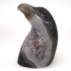 Eagle Head Bust Natural Stone Agate Amethyst Geode Healing Crystal Statue Decor-5-22