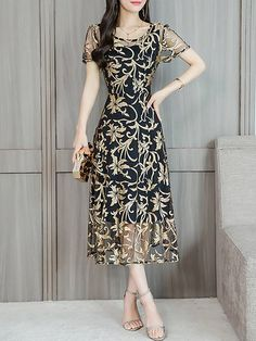 Chicloth Midi Dress A-line Date Dress Short Sleeve Chiffon Jacquard Plus Size Dresses-Cheap Casual Dresses Date Dresses, Dress Outfits, Casual Dresses, Fashion Dresses, Short Sleeve Dresses, Floral Dresses, Cheap Dresses Online, Ladies Dress Design, Plus Size Dresses