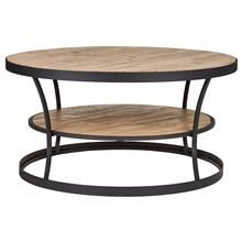 Wood and Metal Round Coffee Table with Shelf