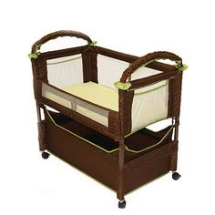 Co-Sleeper, nice and portable, also sold at http://www.walmart.com/ip/CO-SLEEPER-Brand-Clearvue-Bassinet-Cocoa-Fern/14204625