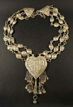 Old silver Kashmiri necklace India Kashmir