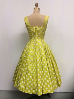 1950s Polka Dot Dress 50s Yellow Party by CreatedAndCollected