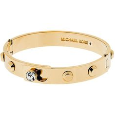 Michael Kors Two Tone Astor Hinge Bangle Bracelet (€99) ❤ liked on Polyvore featuring jewelry, bracelets, gold, bracelet bangle, circle jewelry, bracelet jewelry, hinged bangle bracelet en studded bracelet