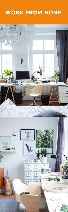 We believe cozy, laid-back bedrooms can make for really creative home office workspaces. And...you can cat-nap on the job!