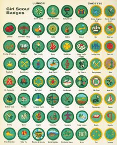 Girl Scout Badges. Wow...I believe I had all of these badges when I was a Girl Scout. I was very competitive. LOL!