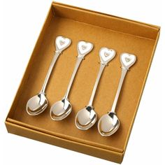 Set of 4 Heart Design Teaspoons by Parlane -  Lovely Wedding Gift  Free P&P