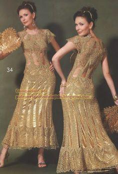 Patrones y moldes de vestido de fiesta con ganchillo