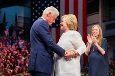 An emotional former President Bill Clinton embraces his wife, presidential…