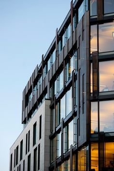 The office building is well adapted to the situation and neighbouring buildings. The building's main volume is divided into two parts. Towards Pilestredet th. Dusk, Facade, Multi Story Building, Exterior, Architecture, Cardiff, Buildings, Commercial, Night