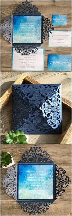 shades of watercolor blue and black laser cut wedding invitations