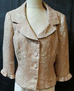 Short Jacket  3/4 Sleeve Beige  Embossed Floral Size 12 Formal Parties USA…