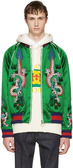54f1122cee5 Gucci - Green Embroidered Silk Bomber Jacket