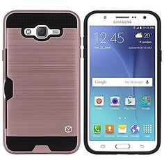 Samsung Galaxy J7 2015 Cell Phone Case Accessories Card Holder Rose Gold