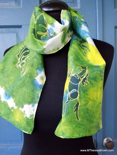 My hand painted gold horses! Custom Silk Scarf silk painting wearable art by onroadartists, $95.00