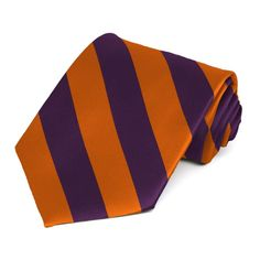 Eggplant and Burnt Orange Striped Tie $8.50 each