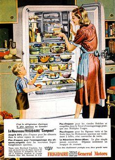 General Motors Frigidaire ad from Retro Advertising, Retro Ads, Vintage Ads, Vintage Prints, Vintage Style, Retro Appliances, Retro Kitchens, General Motors, Retro Design