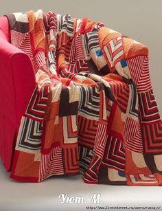 Southwest Geometric Blanket free knitting pattern - could I make with a sock loom? Afghan Patterns, Knitting Patterns Free, Knit Patterns, Free Knitting, Free Pattern, Knitting Stitches, Crochet Quilt, Crochet Afgans, Knit Or Crochet