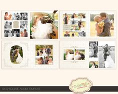 Instant Download 12x12 Square wedding album template CPZ022