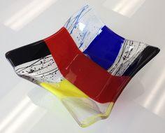 Fused Glass - Stunning origami bowl ---Glassateria
