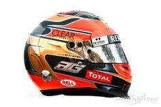 Romain Grosjean, Lotus Renault Team helmet at 2012 drivers helmets High-Res Professional Motorsports Photography Bell Helmet, Racing Helmets, Helmet Design, F 1, Formula One, Dory, Race Cars, Lotus, Automobile