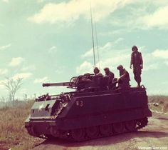 An M-163 Vulcan fires into the brush to flush out enemy troops along Highway 13 in Vietnam.    The M-163 Vulcan was a modified M-113 Armored Personnel Carrier with an M-61 Vulcan Air Defense System turret.    Photo taken: January 1969