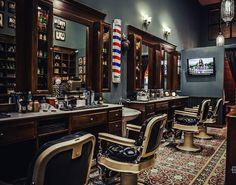 Barber Shop Interior, Barber Shop Decor, Hair Salon Interior, Shop Interior Design, Barber Shop Vintage, Black Sleeve Tattoo, Barber Tattoo, Master Barber, Barbershop Design