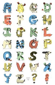 Alphabet Dogfabet by Ohara Hale Design Alphabet, Alphabet Symbols, Typography Alphabet, Alphabet Art, Letter Art, Typography Fonts, Design Typo, Lettering Design, Creative Lettering
