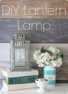 One of the best ideas for decorating with lanterns out there. A super inexpensive way to add some farmhouse lighting to your home. Farmhouse Decor, Cool Diy Projects, Lantern Lamp, Lanterns, Diy Lanterns, Diy Projects For Bedroom, Farmhouse Style Diy, Diy Lamp, Diy Farmhouse Decor