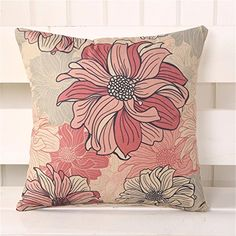 2e886fa302e1 Cotton Linen Sofa Home Decor Design Throw Pillow Case Cushion Covers Square  18 InchPink Flowers