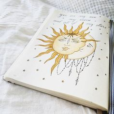 """""""You are my sun, my moon and all of my stars"""" ✨ Trying out different layouts and doodling/drawings right now, to find my theme. It's always fun to try new things and experiment but at the moment I want to find a theme of some sort and try to stick to it, I feel more calm when I know what I'll do, and don't have the pressure to find something new to try. Now I'm at the sun/moon/skull path and I'm loving it  #bulletjournal #bujo #bulletjournaling #leuchtturm1917 #bulletjournaljunkies #bujob..."""