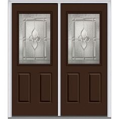 Milliken Millwork 66 in. x 81.75 in. Master Nouveau Decorative Glass 1/2 Lite 2 Panel Painted Fiberglass Smooth Exterior Double Door, Polished Mahogany