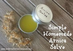 Simple arnica salve -- great for bumps and bruises and easy to make.  Only three ingredients!