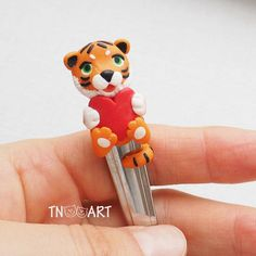 Lovely Tiger spoon with decor from polymer clay tea spoon