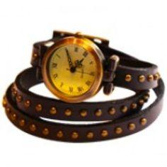 Audrey Wrap Watch Leather Bracelet Black