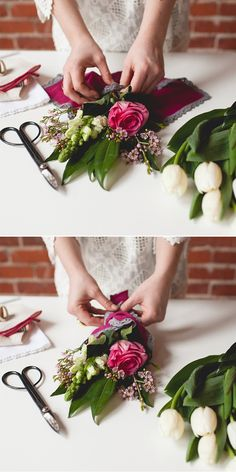 Mini floral bouquet tutorial for your best friends and girlfriends on Valentine's Day. Each flower arrangement is super affordable because the flowers are from Trader Joe's (or any grocery store). Bunch Of Flowers, Flowers In Hair, Fresh Flowers, Cut Flowers, Diy Bouquet, Flower Bouquet Wedding, Flower Installation, Do It Yourself Home, Floral Bouquets