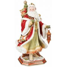 This noble fur trimmed Santa carrying his bundle of toys through the snow alongside his regally saddled stag are the centerpieces of this lavishly designed Holiday collection. The gorgeous centerpiece Santa figurine will become a focal point of your holiday decor...especially when paired with the majestic deer figurine.