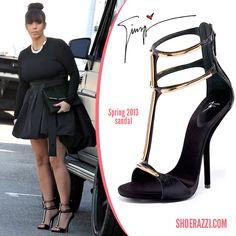 Kim Kardashian Shoe Line | Kim Kardashian in Giuseppe Zanotti T-Strap Sandals