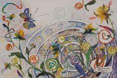 """Pinwheel #1, 2009. Chigiri-e, Fabric, and Watercolour. I.S. 12"""" X 18"""""""