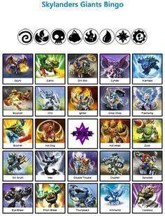 Skylanders Bingo