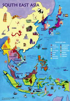 The Map of Vietnam, Cambodia and Laos - Nam Viet Voyage Travel Tours, Travel Maps, New Travel, Asia Travel, Travel Guide, Malaysia Travel, East Asia Map, Southeast Asia, Laos