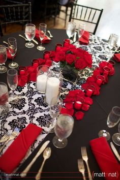 Love the colors... but still thinking I might want Purple instead of Red. Damask Wedding Reception Tablescape: