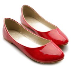 Amazon.com: Ollio Womens Ballet Flats Loafers Basic Light Comfort Low Heels Enamel Multi Colored Shoes: Shoes RED Size 7